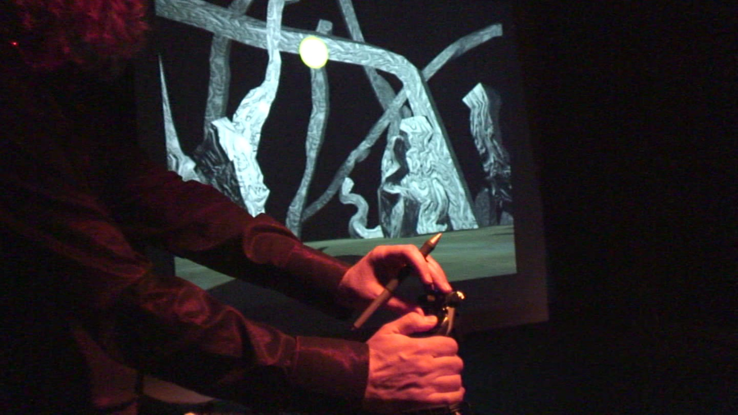 J-Walt performing an improvised 3D landscape
