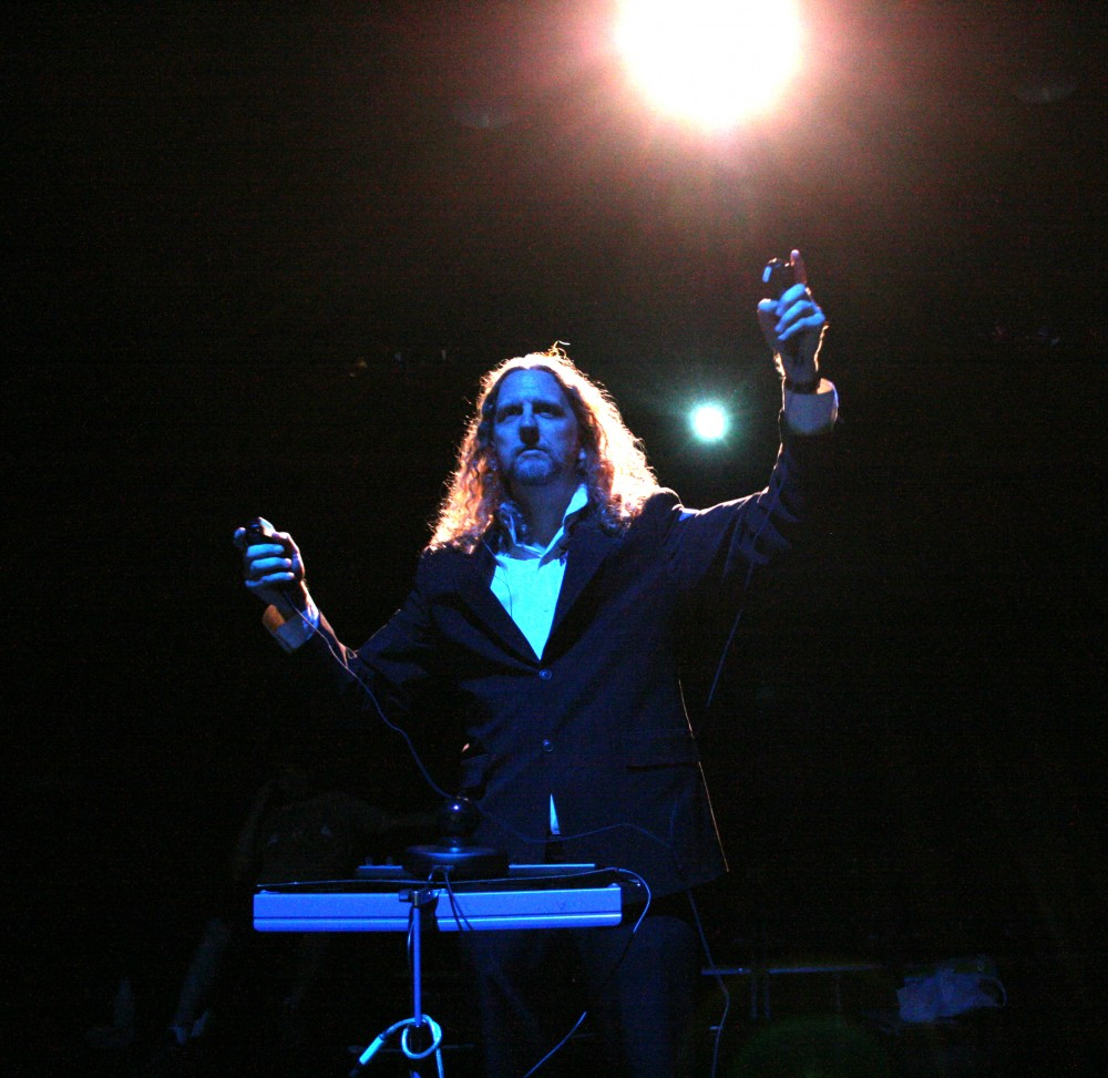 J-Walt Performing with Hydra (backlit)